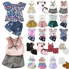 Kids Girls Floral T Shirts Tops Vest Shorts Pants Outfit Set Summer Clothes 1-8Y