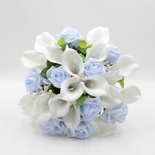 Artificial Wedding Flower Brides Posy Bouquet Blue White Real Touch Calla Lily