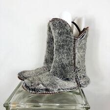 Womans Dearfoam Boot Slippers Fold Over Brown Frost Sz XL 11-12 FUZZY NWOT