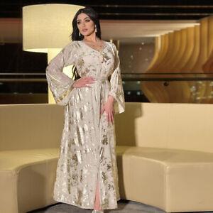 Dubai Golden Abaya Elegant Party Maxi Dress Kaftan Muslim Women Robe With Belt