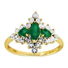 5/8 ct Natural Emerald Quatrefoil Ring with Diamonds in 10K Gold