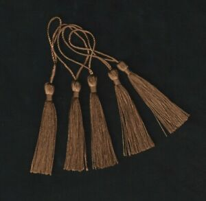 5 x Brown Craft Tassels - 13cm - Beading Jewellery Bookmark Sewing Zip Pull