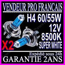2 AMPOULE PAIRE LAMPE HALOGENE FEU PHARE XENON GAZ SUPER WHITE H4 55W 8500K 12V