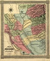 A4 Reprint of America Cities Towns States Map Mining District California