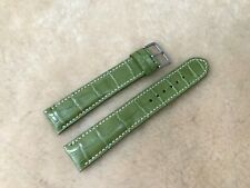 **READ** 22mm/20mm Genuine Crocodile Leather Watch Strap Band - Moss Green