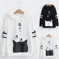 Womens Cat Print Hoodie T-Shirt Blouse Pocket Leisure Long Sleeve Pullover Tops