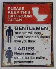 Blechschild 25x20 Bathroom clean Bad Toilette sauber halten witzig Nostalgie NEU