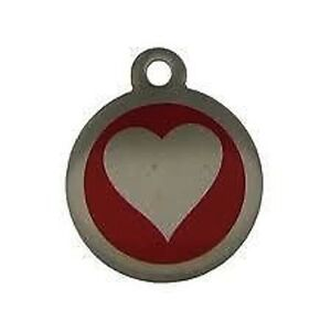 Stainless Steel Heart Pet Tag 25mm Several Colours  Free Engraving By Melian