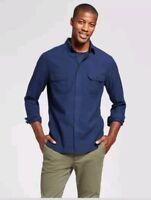 Goodfellow & CO Men's Standard Fit Herringbone Blue Flannel Shirt - Small NWT