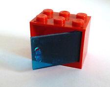 1 x LEGO® 4533/4532City,Schrank,Kasten mit Tür/Klappe blau transparent/rot 2x3x2