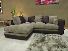 New DYLAN JUMBO CORD Chocolate BROWN & Coffee CORNER SOFA Left hand facing,