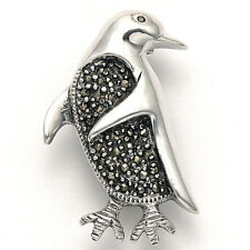 Sterling Silver & Marcasite Penguin Pin - MPN151