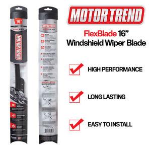 """All Season Windshield Wiper Blades Motor Trend 16"""" Bracketless J-HOOK- Single PC"""