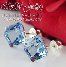 925 Sterling Silver Stud Earrings *CUBE* Aquamarine 8mm Crystals from Swarovski®