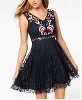 Nanette Lepore Womens  Dark Blue Slv Embrd Floral Pleated Fnf Dress $138 {&}