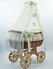 ALANEL Deluxe Wicker Crib Baby Cot Moses Basket Ophelia with Bedding & Drape