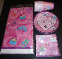 Lot of Princess Birthday Party Supplies plates napkins cups table cover serves 8