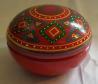 Russian red painted wood vintage Art Deco antique round box