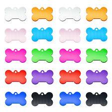10 pcs Multi-colors Aluminum Metal Collar Charms 38x25mm Pet ID Tags Bone Shaped