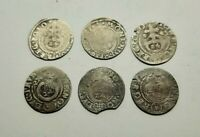 Set 6 pcs. European Medieval Era SILVER coins 1/24 thaler 1621-1627 years #2971