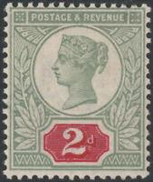 1887 JUBILEE SG200 2d  YELLOW GREEN /DEEP CARMINE VARIETY BROKEN FRAME LINE