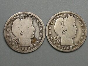 2 Better Date 1898 Barber Quarters. #55
