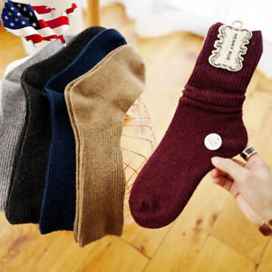 3 Pairs Women 90%Cashmere Wool Thick Warm Soft Winter Sports Solid Casual Socks