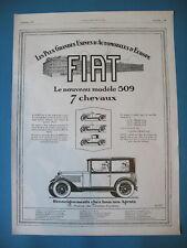PUBLICITE DE PRESSE FIAT AUTOMOBILE NOUVEAU MODELE 509 7 CHEVAUX AD 1925