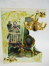 PARROT CAGE & CHANDELIER Greeting Card 3-D Interactive Swing by Santoro Graphics