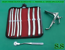 HEGAR  DILATOR SOUNDS 8 PCS + 1 WARTENBERG PINWHEEL & 1 GRAVES SPECULUM SMALL