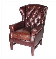 Chesterfield vintage cuir véritable BERGÈRE FAUTEUIL EN MARRON Chaise de salon