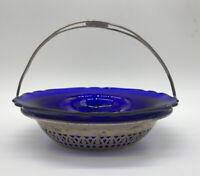 Antique STERLING SILVER Pierced Basket Cobalt Cambridge Glass Bowl Vintage
