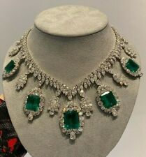 925 Sterling Silver Green Emerald White Round Pear Marquise Highend CZ Necklace