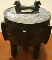 James Mont Style Aztec Asian Vintage Cast iron Ice Bucket Urn Mid-Century Modern