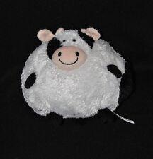 Peluche doudou vache boule AURORA blanc noir rose beige 15 cm NEUF