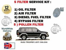 FOR ISUZU TROOPER 3.0 DTi 1998-2006  OIL BYPASS AIR FUEL POLLEN FILTER (5) KIT