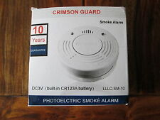 SMOKE ALARM, CRIMSON GUARD 10 YEAR , built in CR123A Battery, NEW in Box.