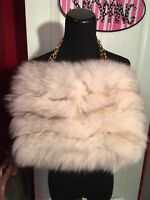 Vintage Norwegian Fox Fur Clutch Handbag Bag Purse with Chain Strap