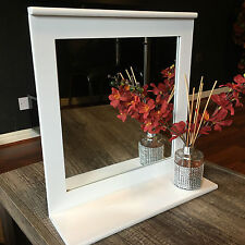 WOODEN WHITE BATHROOM WALL MIRROR WITH SHLEF DRESSING TABLE VANITY WALL MIRROR