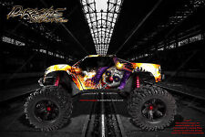 """TRAXXAS E-MAXX GRAPHICS WRAP DECALS """"PYRO"""" CLOWN & FLAMES FITS OEM BODY PARTS"""