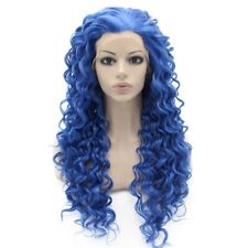 Long Curly Blue Synthetic Lace Front Cosplay Party Wig