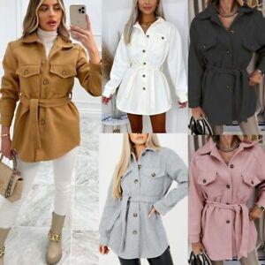 Womens Ladies Oversized Fleece Casual Overshirt Belt Jacket Shacket Shirt Coat