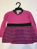 M&S Girls Pink/black spots/stripes Long sleeve top Age 3 4 6 7 8 NEW SALE!