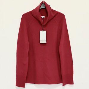 Jigsaw Fleece 100% Merino Wool Raglan Jumper, Red Size S (UK 10) RRP £130