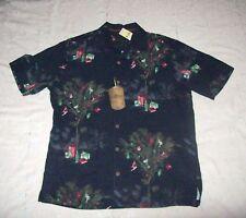 NWT Mens Tommy Bahama Partridge in a Palm Tree Black Hawaiian Shirt - M