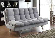 NEW PADDED 3 SEATER SOFA BED Light Grey Fabric chrome finish legs a modern look