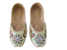 Women Shoes Indian Handmade Wedding Leather Mojari Ballet Flat Gold Jutties US 6
