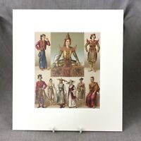 1876 Antico Stampa Tradizionale Giapponese Abito Moda Racinet Storico Costume