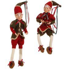 "RAZ Imports 19"" Posable Elves Elf Ornament Set/2 Red Green Woodland New!"
