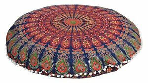 32 Inch Mandala Round Floor Pillow Pouf Cushion Sham with inserts fillers